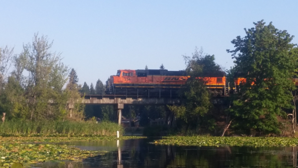 Train crossing the Pattison Lake Bridge