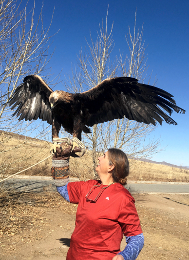 Me, holding a magnificent hunting eagle