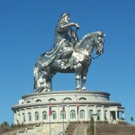 Genghis Khan Equestrian Statue, gleaming in the morning sun