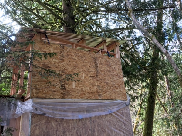Sheet of OSB dangling from the upper wall frame