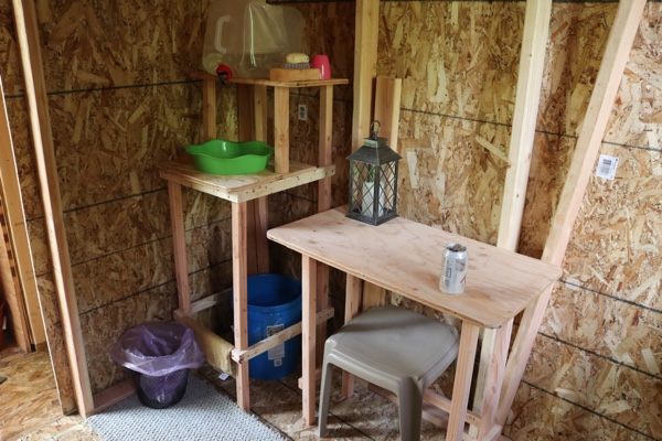 Small table and a handwashing station