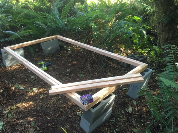 The shed floor is almost framed out. See the issue with it?