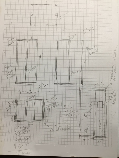 The first draft of my shed plans. It morphed Friday night from a 4'x5' shed to a 4'x8' shed.