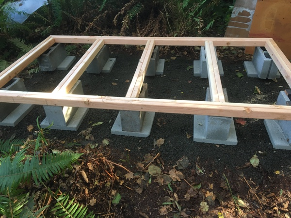 """After leveling the 12"""" pavers, I used the floor frame to level the cinderblocks."""