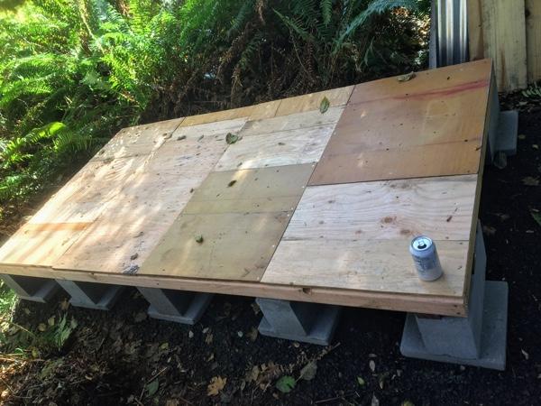 Scrap wood floor complete!